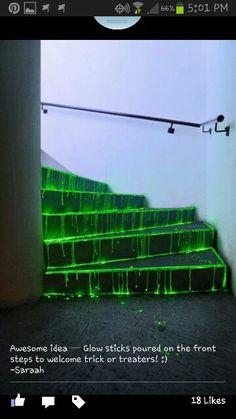 Glow sticks on stairs