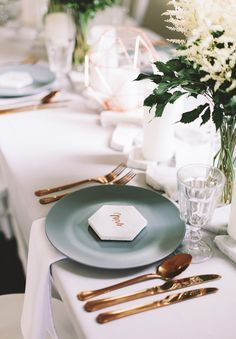 Little White Chapel Wedding Styling - Willow Tree Creative. Featured on Hello May. Cute Wedding Ideas, Trendy Wedding, Teal Plates, Little White Chapel, Bronze Wedding, Green Table, Wedding Table Settings, Wedding Tables, Gold Table