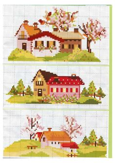 Cross Stitch House, Mini Cross Stitch, Cross Stitch Needles, Cross Stitch Cards, Cross Stitch Embroidery, Cross Stitch Patterns, Cross Stitches, Cross Stitch Landscape, Crochet Cross