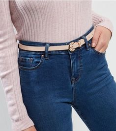 Nude Bow Detail Skinny Belt | New Look