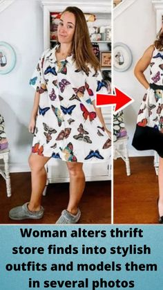 #Woman alters thrift store #finds into stylish #outfits and #models them in several #photos