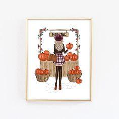 Fashion Wall Art, Fashion Bedroom, Fall Room Decor, Autumn Illustration, Bedroom Art, Halloween Art, Wall Art Prints, Pastel Watercolor, Autumn Fashion