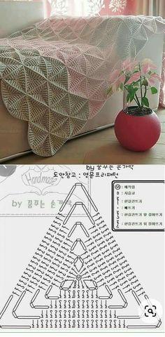 Crochet Bedspread Pattern, Crochet Flower Patterns, Crochet Stitches Patterns, Knitting Patterns, Crochet Designs, Crochet Diagram, Crochet Chart, Crochet Motif, Crochet Home