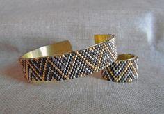 Parure en perles Miyuki bracelet et bague amérindien Navajo Parure tissée Parure ethnique Bronze, doré et argenté.Tissage peyote : Parure par m-comme-maryna