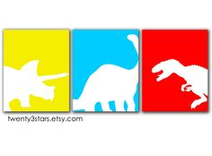 Dinosaur Trio Giclée Prints of Triceratops, Tyrannosaurus Rex and Apatosaurus- You Pick the Colors. $42.00, via Etsy.