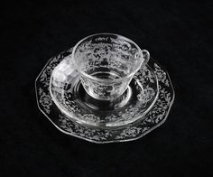 Fostoria Navarre Trio in Crystal, Elegant Etched Glass, Plate Cup and Saucer Set, Tea and Luncheon Set