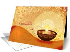 Diwali Greetings - decorative lamp on festive golden background card