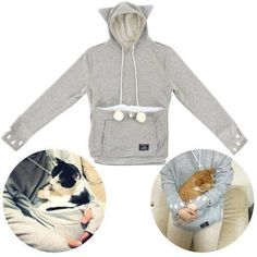 Kitty sweat jacket with pouch