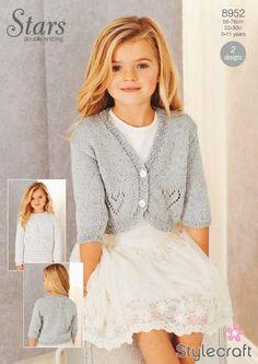Stylecraft Pattern 8952 (Stars DK) - Knitted Childs Heart Design Cardigans