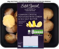 Extra Special Cornish Crystal Potatoes with Lemon and Sea Salt Syns Slimming World Syns, Salted Butter, Sea Salt, Wine Recipes, Lemon, Potatoes, Vegetables, Crystals, Food