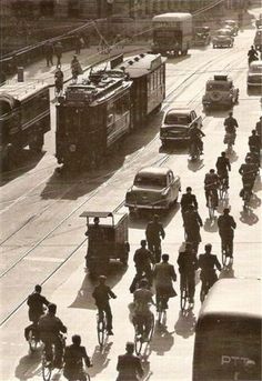1950's. A view of the Rozengracht before the Spuistraat with tram line13 in Amsterdam. Photo Jeroen Epema. #amsterdam #1950 #Rozengracht #Spuistraat