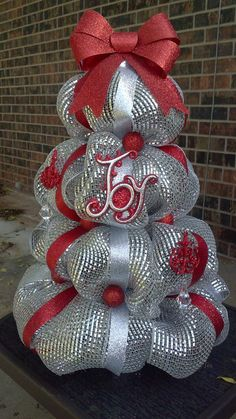 Silver and Red Deco Mesh Christmas Tree Centerpiece