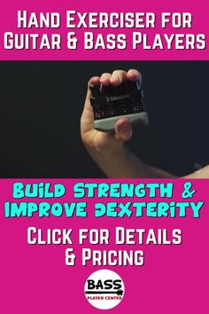 Hand exercises strengthens your fingers, hands, and forearms to improve your bass and guitar playing. Helps improve dexterity & playing technique in all areas #HandExerciser #BassExercise #GuitarExercise Bass Guitar Scales, Play Guitar Chords, Learn Bass Guitar, Acoustic Bass Guitar, Bass Guitar Lessons, Guitar Lessons For Beginners, Drum Lessons, Guitar Songs, Bass Guitar Accessories