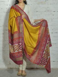 Yellow-Red Kantha Tussar Silk Dupatta