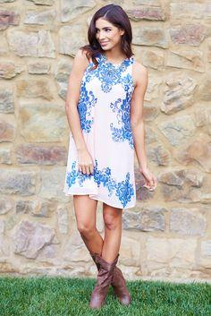 Dusty-Pink-Blue-Damask-Printed-Chiffon-Dress