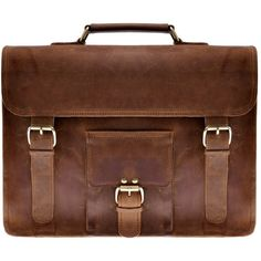 Zlyc Men's Vintage Retro Handmade Leather Briefcase 15.6-inch Laptop... (440 PLN) ❤ liked on Polyvore featuring men's fashion, men's bags, men's briefcases, bags, mens courier bag, mens satchel, mens vintage leather satchel, mens brown leather briefcase and mens leather satchel