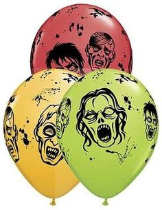 "Included: 10 Balloons Total 11"" Zombie Latex Balloons Print is on all sides Colors include Red, Goldenrod, Lime Green Print is Black These items may arrive flat or in retail packaging All balloons sold online are shipped out with no air/helium. Filled balloons don't travel well through different elevations. We ship world wide! Froo www.froo.com 