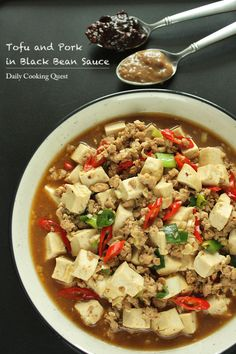 Tofu and Ground Pork in Black Bean Sauce