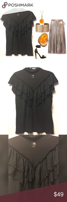 """👡SLEEVELESS BLACK BLOUSE WITH SHEER CHEST👡 Black blouse by Allen B Schwartz features a sheer chest line, high collar, three rows of front ruffles and a keyhole back neckline with four buttons. NWT  Size M 100% Modal Chest 16 1/2"""" Length 25""""  Please comment with any questions and feel free to make an offer with the blue button! ⭐️ Purchase by noon EST and item(s) ship the same day!  Bundle 2+ items and save 10%, just click the three dots in right hand corner💕 ABS Allen Schwartz Tops…"""