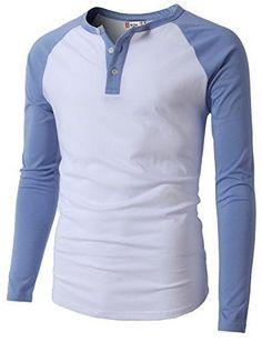 H2H Mens Casual Slim Fit Raglan Baseball Three-Quarter Sleeve Henley  T-Shirts 27e46e08e61af