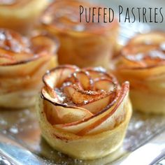 These Apple Rose Puffed Pastries are a simple yet elegant way to serve a unique dessert. These Apple Rose Puffed Pastries are a simple yet elegant way to serve a unique dessert. Unique Desserts, Mini Desserts, Just Desserts, Dessert Recipes, Dinner Party Desserts, Beautiful Desserts, Party Appetizers, Party Recipes, Apple Recipes