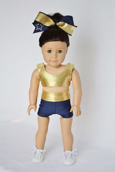 """American Girl 18"""" Doll Clothes and Accessories -  Cheer Sports Bra, Shorts and Cheer Bow - Gold Mystique and Navy on Etsy, $25.00"""