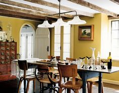Mismatched dining chairs.