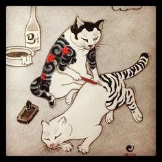 Tattooed cat #tattopedcat #cat #painting #catpainting #neko #irezumi#ネコ#猫#tattoo - horitomo_stateofgrace @