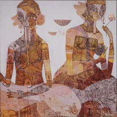 Art Journal Inspiration, Art Inspo, Indian Arts And Crafts, Tribal Women, Aesthetic Images, Henna Artist, Hand Painted Ceramics, Illustrations, Female Art