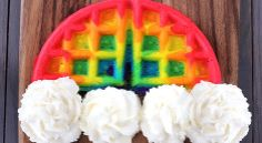 Rainbow Waffles.  Cute for birthday breakfasts or just for fun