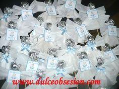 Trufas de chocolate con decoración de angelito.......Para recuerdo de bautizo, baby shower o Primera Comunión