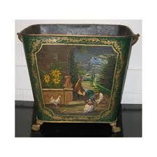 19th century tole painted coal acuttle