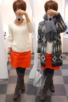 今朝は寒かった~ そろそろアウターが本格的に必要な時期に突入ですね。  Cardigan/MOBERE IMPAIR Knit/GAP Bottoms/GAP Bag/JOURNAL STANDARD Shoes/UR  Today is a combination of gray and red.  グレーと赤の合わせって最近大好きです。