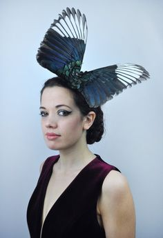 Magpie Wing Feather Fascinator in dramatic Full Open Wings Butterfly Effect