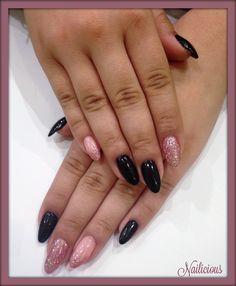Black & Pink Glitter nails