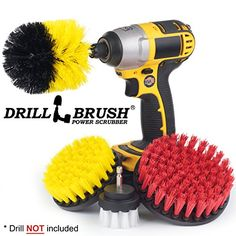 Drillbrush Scrub Brush Drill Attachment Kit - Drill Powered Cleaning Brush Attachments - Time Saving Cleaning Kit - Great for Cleaning Pool Tile, Flooring, Brick, Ceramic, Marble, Grout, and Much More #Drillbrush #Scrub #Brush #Drill #Attachment #Powered #Cleaning #Attachments #Time #Saving #Great #Pool #Tile, #Flooring, #Brick, #Ceramic, #Marble, #Grout, #Much #More
