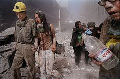 ~ EVACUTATION: World Trade Center Terrorism, New York Disaster. Survivors leave the World Trade Center site shortly after the attack. James Nachtwey, 11 September 2001, Remembering September 11th, World Trade Center Attack, World Trade Center Site, We Will Never Forget, Lest We Forget, Us History, American History