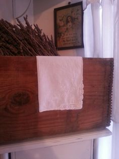 Handkerchief on an oyster crate filled with lavender