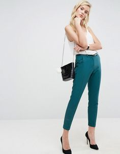 ASOS The Slim Tailored Cigarette Pants With Belt - Green