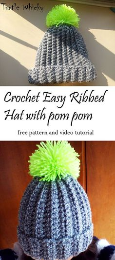 Crochet super easy ribbed hat with pom pom. This is perfect project for  beginners 9b5a6681d951