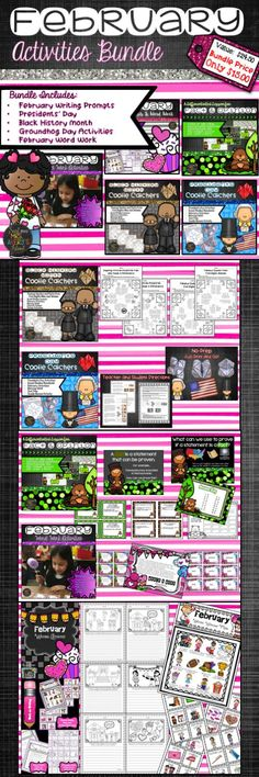 This February Activity Bundle is full of engaging resources to accommodate your lesson plans throughout the month of February! Products include activities for Valentines Day, Presidents' Day, Groundhog Day, Black History Month, and February Word Work! #teachersfollowteachers #teacherspayteachers #tpt #iteachtoo #teachers #education #learning #literacy #daily5 #creativewriting #writing #homeschooled #homeschooler #homeschooling