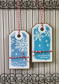 StampingMathilda: Christmas Tags using Darkroom Door Snowflakes Eclectic Stamp and sentiments from Stitched Christmas Rubber Stamp Set.