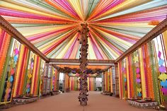 wedding lawn decorated with pink, green, yellow and blue fabric Desi Wedding Decor, Wedding Hall Decorations, Marriage Decoration, Wedding Entrance, Wedding Mandap, Wedding Receptions, Wedding Table, Table Decorations, Mehndi Decor