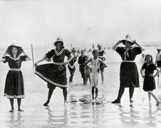 n the early Victorian era women had worn serge or dark flannel bathing dresses…