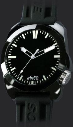 Rubber strap black dial arctos elite german military watches