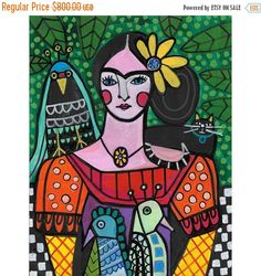 50% OFF Storewide Original Frida Kahlo with por HeatherGallerArt