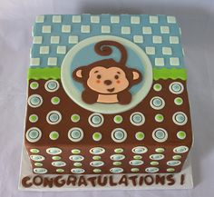 Monkey Baby Shower Cake for a Boy