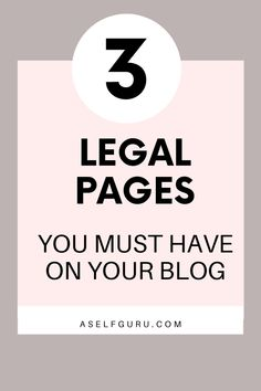 3 legal pages you must have on your website and click to learn why they are so important to protect your blog, blogging legally is a lot easier than you think with the help of these lawyer approved blog legal templates to protect you and your online business #blogginglegally #legalpages #legaltemplates #bloggingtips #privacypolicy #disclaimer Business Entrepreneur, Business Tips, Online Business, Business Planning, Make Money Blogging, Earn Money, Work From Home Jobs, Blogging For Beginners, Blog Tips