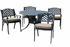 The Nassau Collection 4-Person Cast Aluminum Patio Furniture Dining Set With Cushions . $1234.00