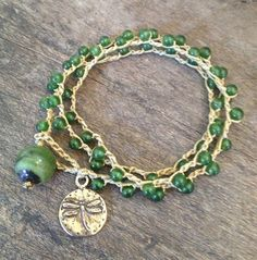 Dragonfly & Jade Crochet Multi Wrap Bracelet Boho Chic $28.00